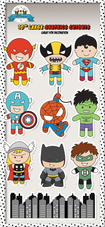 """Large Superheroes 10"""" Graphics Cutouts - Super Hero Personalized printables will save you time and money while making your planning a snap!"""