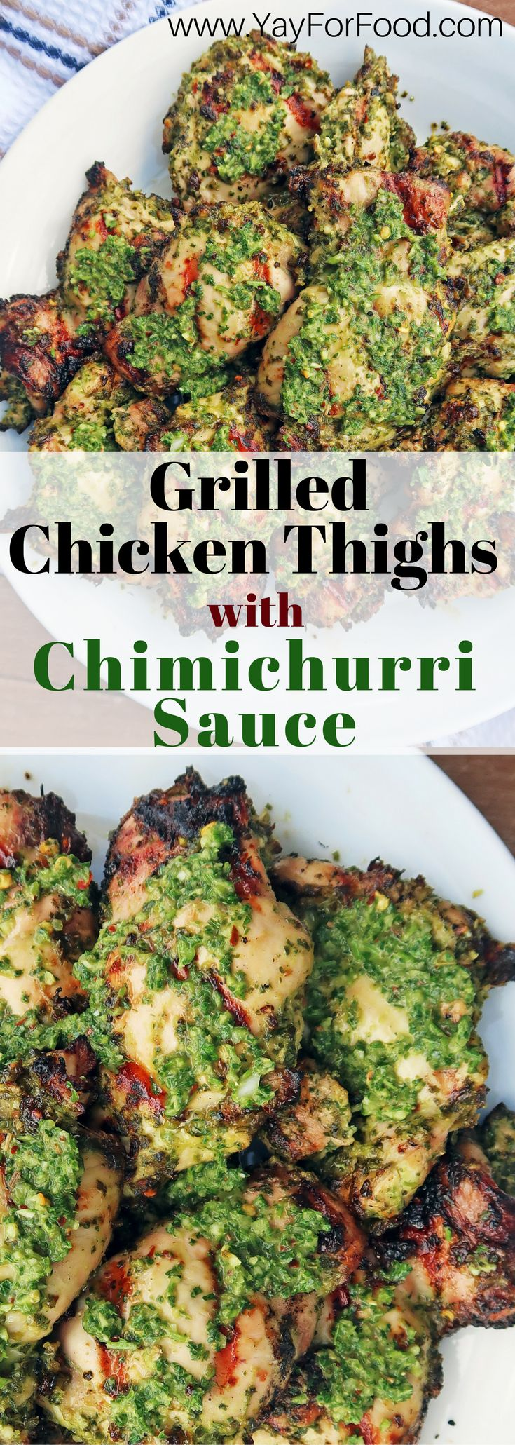 Enjoy delicious, healthy grilled chicken thighs with fresh and flavourful green chimichurri sauce! A tasty main dish that's super easy and quick to prepare! gluten free | paleo | healthy | grilling recipes | easy | fast | Beautiful Cases For Gir