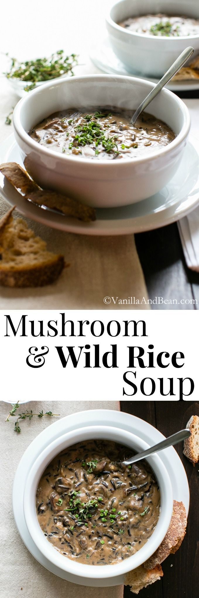 Creamy Mushroom and Wild Rice Soup that gets its creaminess from cashew nuts! An easy weeknight meal hat can double as a delicious lunch. Add chicken of you like or let it be a meatless meal. Yum! | Vegan | Vanilla And Bean