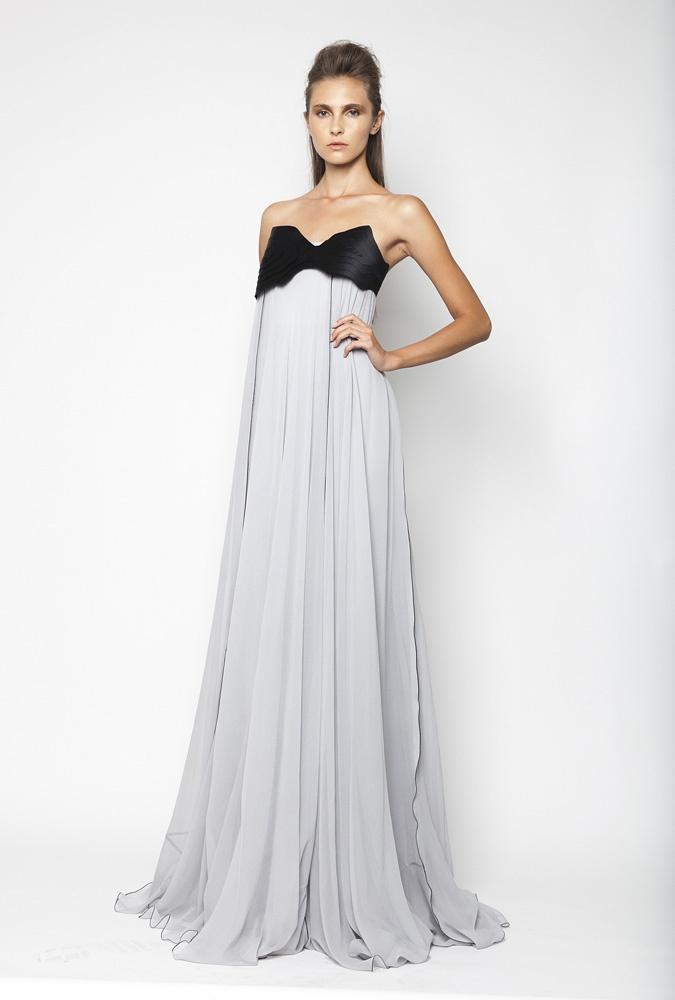 CHRISTOS COSTARELLOS SS12 Silk Chiffon Maxi Dress With Handmade Technique.