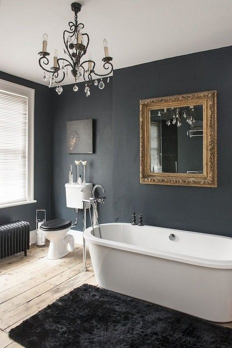 Huge Bathroom Bath Tub Black Walls Chandelier And Gold Mirror Just Seperate The Toilet From Rest Of Room Voila Perfection