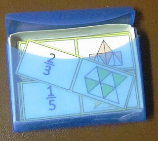 Love the reuse of a travel Q-tip box :) Fraction Domino Card Set $ #fractions