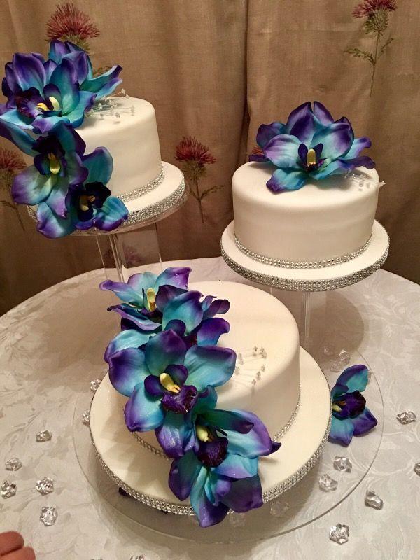 Cymbidium Orchid Silk Flower Spray In Blue 36 Tall With 10 Flowers Purple Wedding Cakes Wedding Cakes With Flowers Fall Wedding Cakes