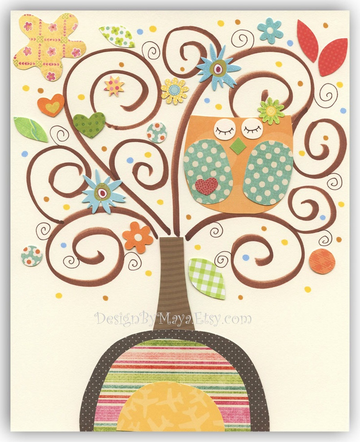 Kids Print Nursery wall  Art Decor Owl...The rainbow tree (orange owl). $17.00, via Etsy.