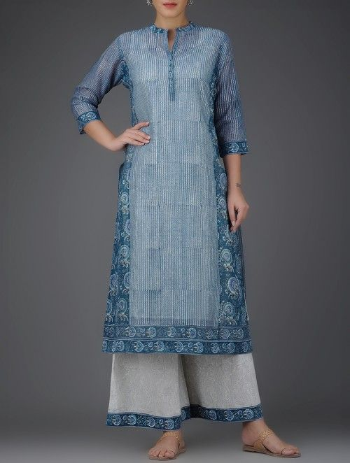 Indigo Block-Printed Mandarin Collar Chanderi Kurta with Cotton Slip (Set of 2)
