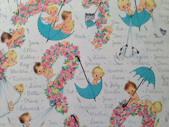 Vintage Gift Wrapping Paper - Baby Shower - New Baby Namesake by Hallmark - What to Name the Baby? - 1 Unused Full Sheet Baby Shower Wrap