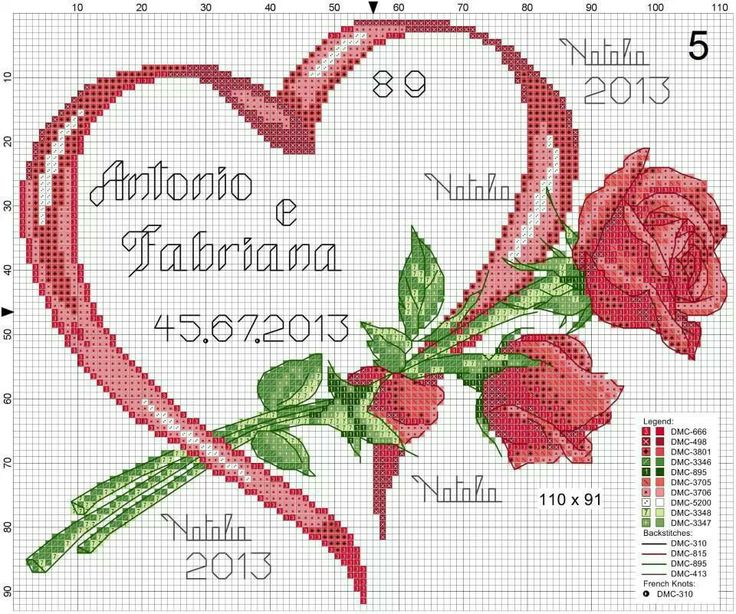 Cross-stitch Red Ribbon Heart & Roses...   Dfhhb