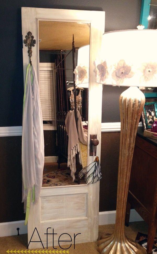 Door leaning mirror, reclaimed door, vintage door