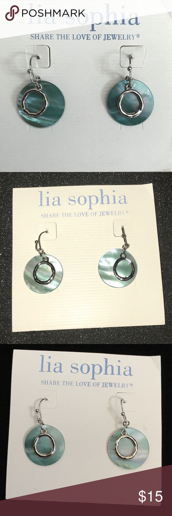 Lia Sophia Green /Silver Dangle Earrings NWOT Lia Sophia Earrings.  Never worn, display only.  Fish hook.   Smoke free home.  Fast shipping. Lia Sophia Jewelry Earrings