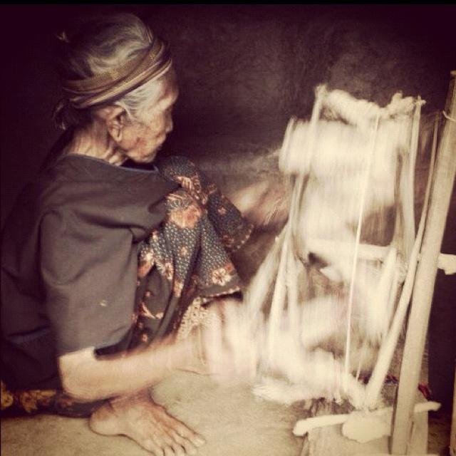 Spinning yarn to make Ikat, Lombok island