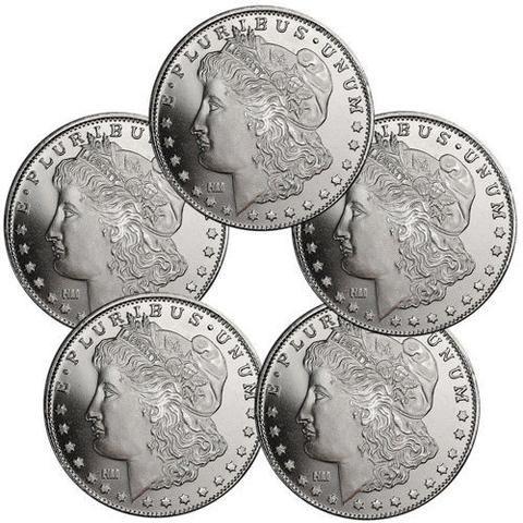 Lot of 5 - Morgan Dollar Design 1 Troy Oz .999 Fine Silver Rounds SKU31047