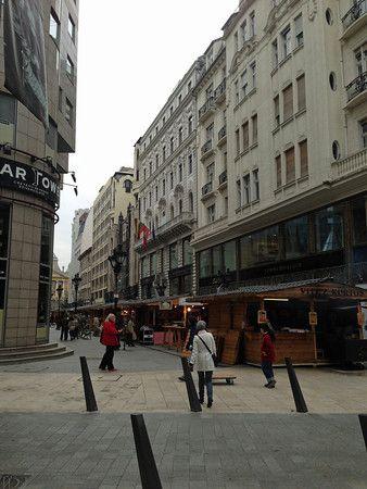 Approaching a street market near Deak Ter in Budapest, Hungary.