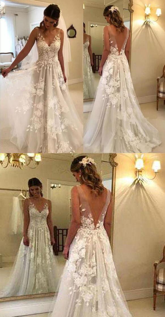 Elegant A-Line V-Neck Tulle Open Back Ivory Wedding Dresses with Lace Appliques