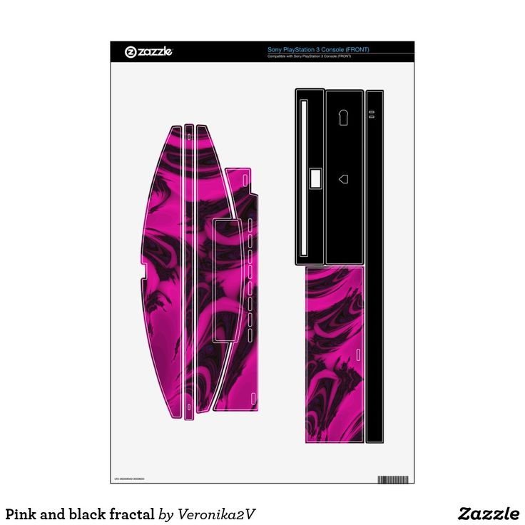 Pink and black fractal skins for PS3,  artwork, buy, sale, gift ideas, zazzle, pink, black, spots, fractal, magenta, bright, purple, colorful, dark, abstract,  design, gadgets, sony, psp, games, skin