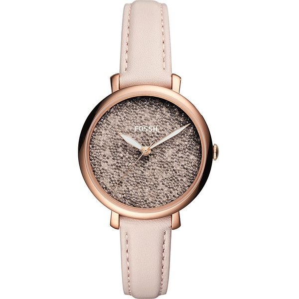 Fossil Jacqueline Three-Hand Pastel Pink Leather Watch - Pink -... ($125) ❤ liked on Polyvore featuring jewelry, watches, pink, leather watches, fossil jewelry, leather wrist watch, water resistant watches and pink jewelry
