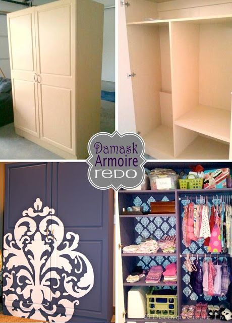 Discover. Create. Live.: Damask Armoire Redo