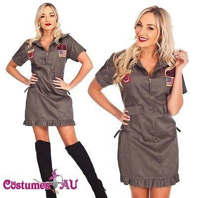 Womens Top Gun 80s Costume Army Military Aviator Flight Figher Pilot Fancy Dress