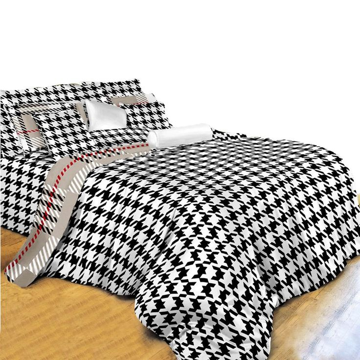 King Size Duvet Cover Sheets Set, Houndstooth Check