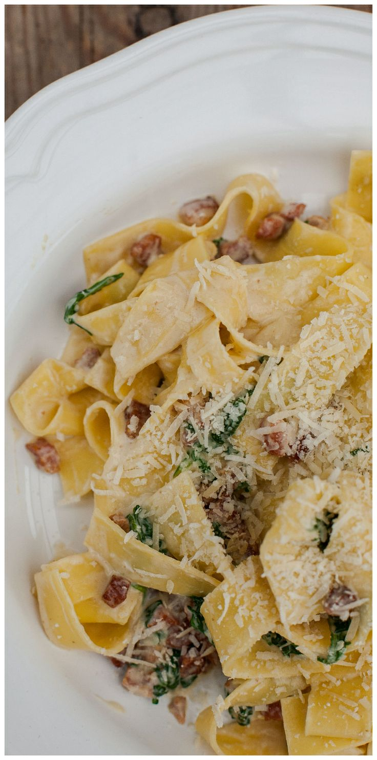 A lighter version of Carbonara that is not loaded with cream- who wouldn't love that! #pasta #italian