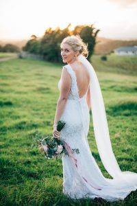 Real When Freddie met Lilly Bride, Chloe Moore, was wed to her now hubby, Nathan, in our stunning Valentina Gown. She accessorised with a simple silk belt and tulle veil.