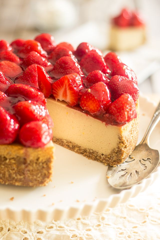 Made with a secret ingredient that will blow your mind, this Dairy Free Paleo Strawberry Cheesecake tastes and feels like the real thing!