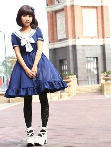 Navy Chiffon Short Sleeves Sailor Collar Ruffles Lolita Dress - Milanoo.com