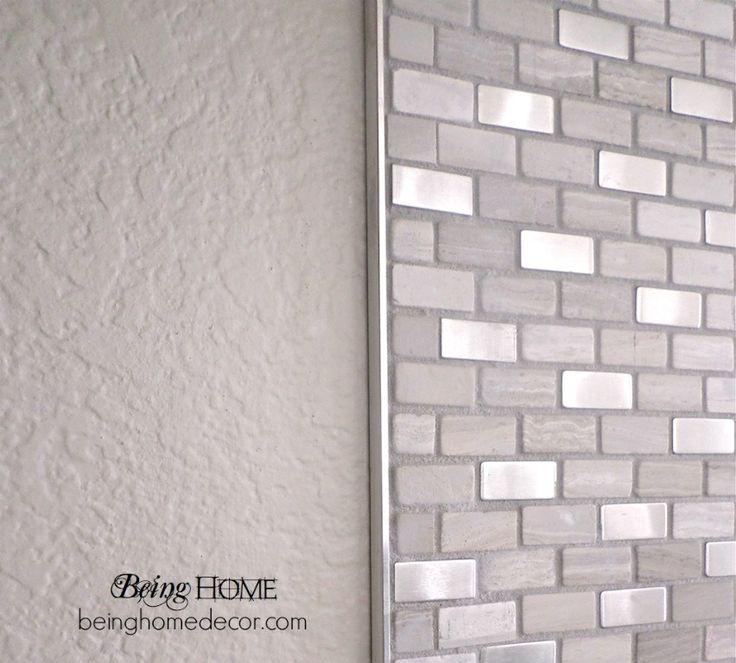 """Super Simple DIY Tile Backsplash :: Hometalk  """"Brick Boulevard"""" tile from Home Depot with metal trim edge."""