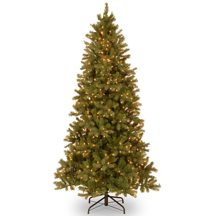 7.5-ft. Pre-Lit ''Feel Real'' Downswept Douglas Fir Slim Artificial Christmas Tree, Green