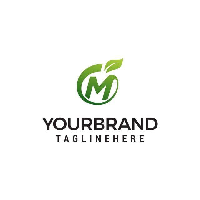 م شعار ناقلات قالب تصميم الرسالة الأولية مع قالب مفهوم تصميم شعار ورقة الفاكهة Fruit Logo Design Lettering Design Fruit Logo