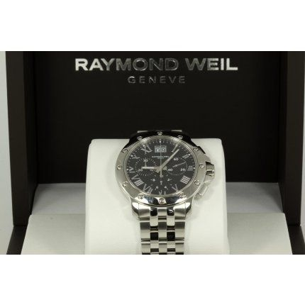 "A Raymond Weil ""Tango"" chronograph stainless steel Quartz mens wrist watch with a black colour dial, date and 50M water resistant. The watch is Swiss made.  The watch comes with the Raymond Weil bracelet and clasp. Model# 4899-ST-00208.  An Instruction Manual and Original Box will also come with t"