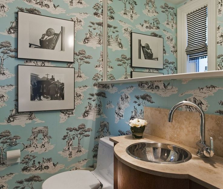 Powder Room, With Wallpaper