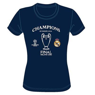Real Madrid UEFA Champions League 2016 Winners T-Shirt - Navy - Womens: UEFA Champions League 2016… #RealMadridShop #RealMadridStore