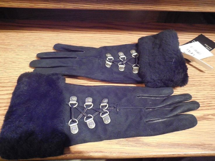 WOMEN'S BLACK LEATHER SUEDE SHEARLING CASHMERE GLOVES LACED UGG AUSTRALIA S $145 #UGGAustralia #EverydayGloves