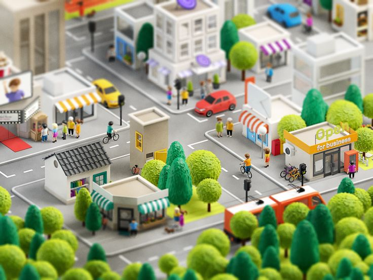 Dribbble - 3d city by Anna Paschenko