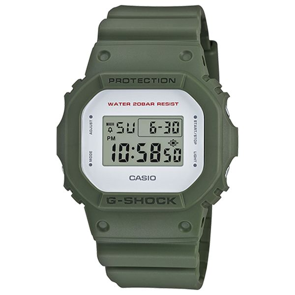 A new version of the popular 5600 model which utilizes military colors to make this piece a fashionable addition to any collection. Equipped with a EL Backlight, a 1/100th second stopwatch and a Countdown Timer, this watch is a...