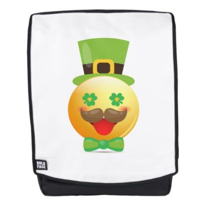 #Emoji Mustache Funny St Patricks Day Girls Boys Backpack - #emoji #emojis #smiley #smilies