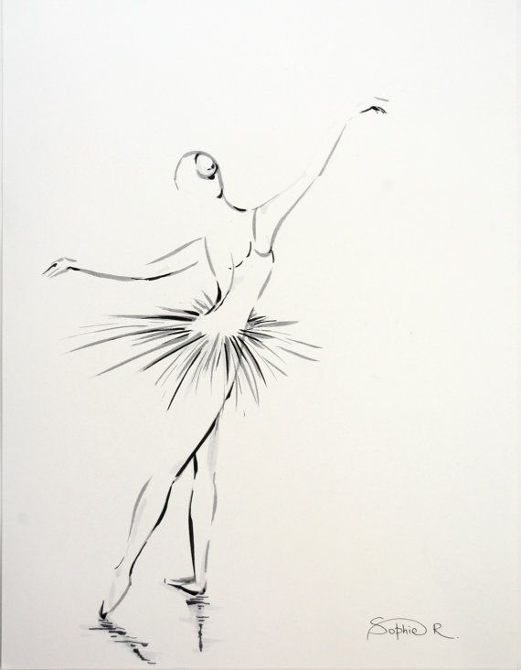 Ballerina - Original Drawing, Black and White Minimalist Art, Ballet Dance Art on Etsy, $55.87 CAD