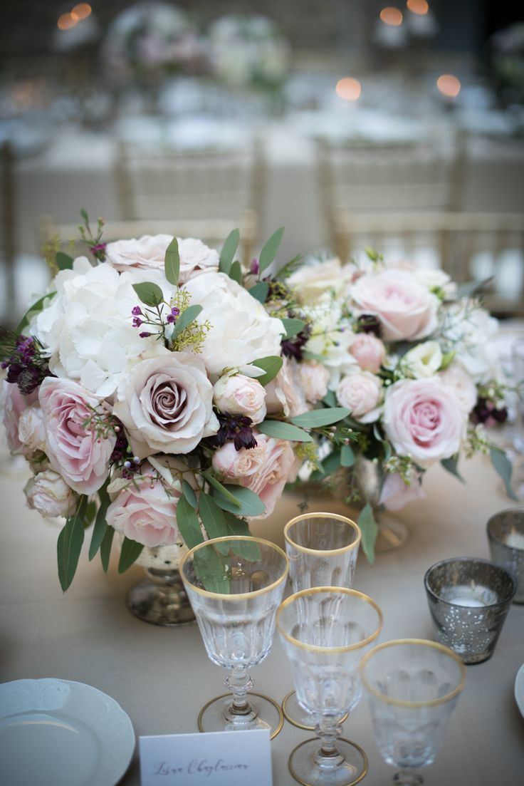 Reception Table Setting Fresh Florals White Pink Rose Peony Daisy Flowers Gold Wine Glasses Calligraphy Name