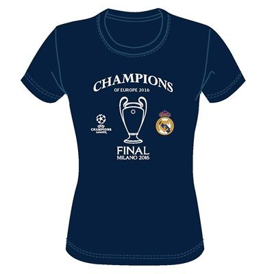 Real Madrid UEFA Champions League 2016 Winners T-Shirt - Navy - Womens