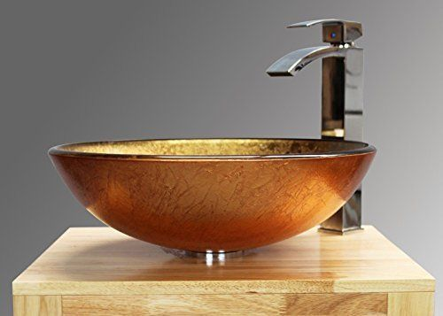 Bathroom Cloakroom Countertop Copper Glass Basin Sink