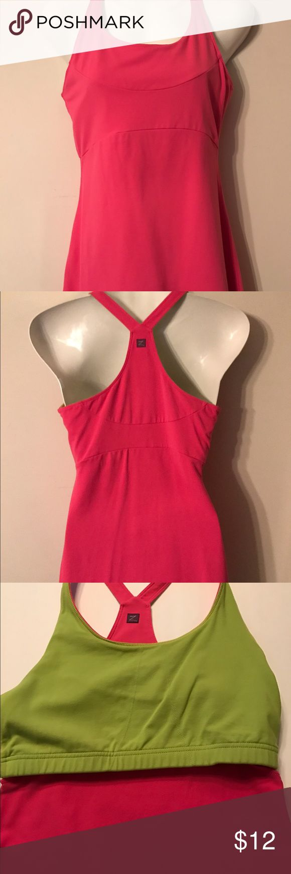 ZOBHA Athletic Dress Zobha Athletic Dress.  Bright pink with lime green interior bra (no pads) as shown in pic 3. Length is approx 30 in. Very good condition. Clean, non-smoking home. All clothes laundered before shipping & same or next day shipping. Thank you for your interest! Logo courtesy of Zobha.com Zobha Dresses