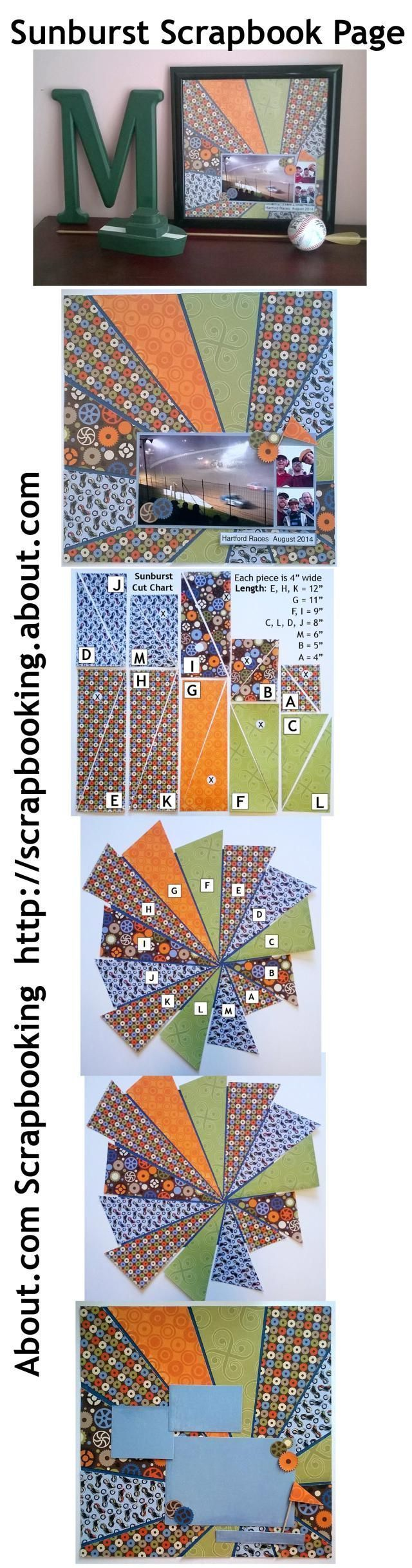 Sunburst Scrapbook Page Idea Using Boy Themed Patterned Paper: Pin It! Compiled Photos for Easy Pinning #scrapbooklayouts #scrapbooking101