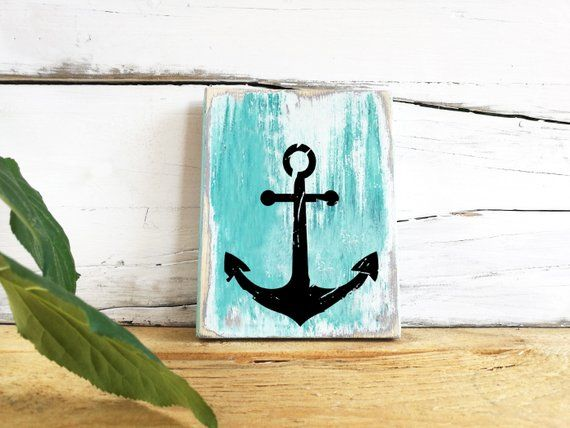 Anchor Wooden Sign Maritime Bathroom Decor Bath Decorations Wood
