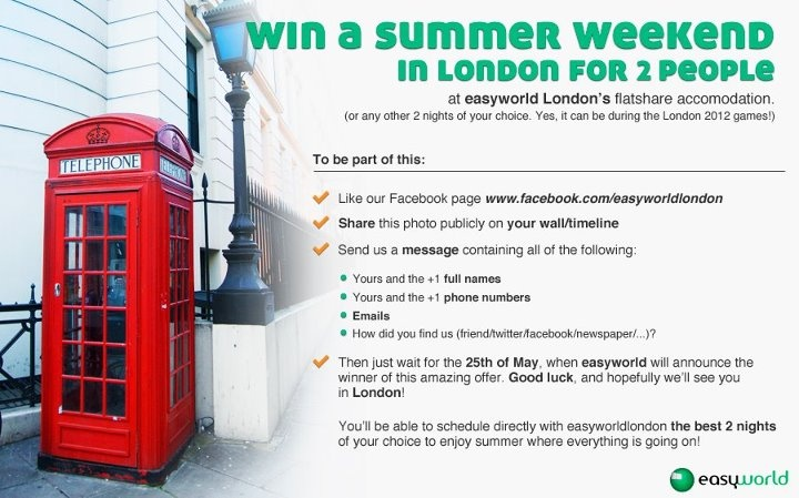 Winning a free weekend in London??? Oh yes, that sounds like a nice thing to do.  www.facebook.com/easyworldlondon  #london #london2012