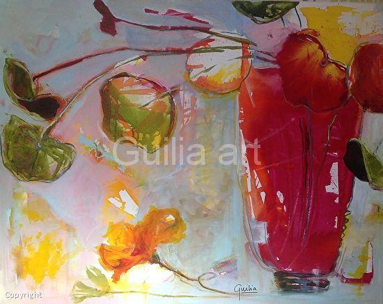 Floral Frivolity by Julia Forman Acrylic ink ~ 800 x 1000