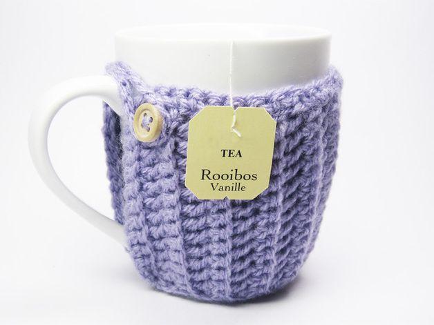 Häkelanleitung für einen süßen Becherwärmer / diy crochet pattern for a cup holder made by Lemonata via DaWanda.com