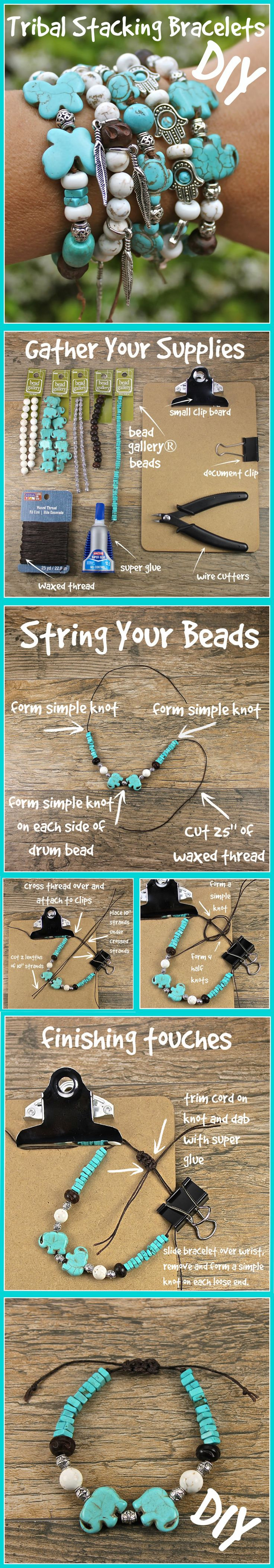 Make these Tribal Stacking Bracelets to adorn your wrist. Just a few easy steps.