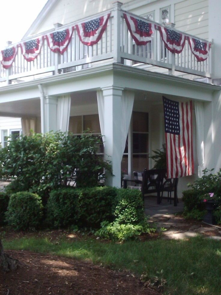 Patriotic bunting on an all-American porch