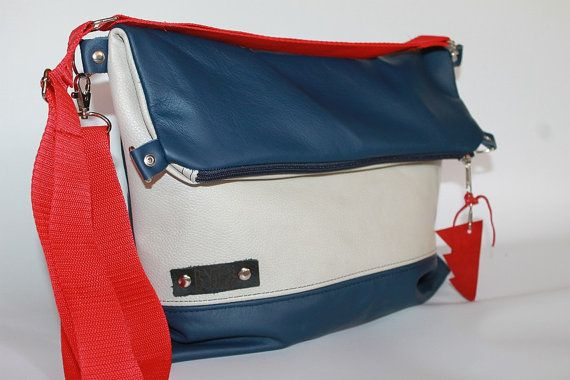 Leather fold over bag cross body real leather tote blue white and red bag