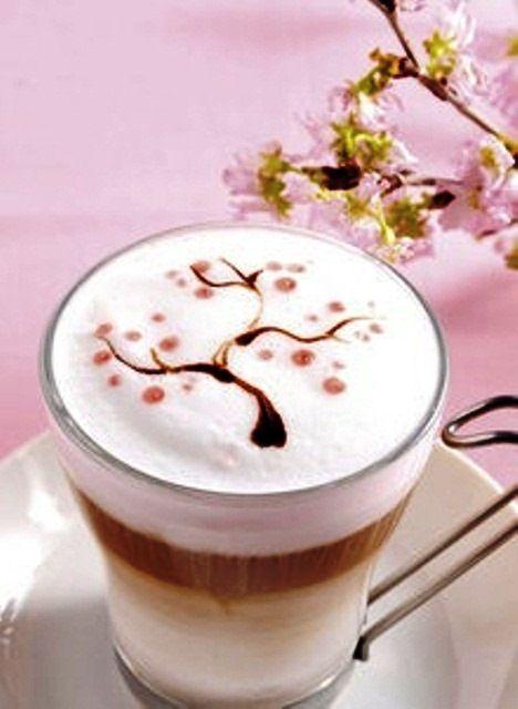 .·:*¨¨*:·.Coffee ♥ Art.·:*¨¨*:·. Sakura latte artMore Pins Like This One At FOSTERGINGER @ PINTEREST No Pin Limitsでこのようなピンがいっぱいになるピンの限界